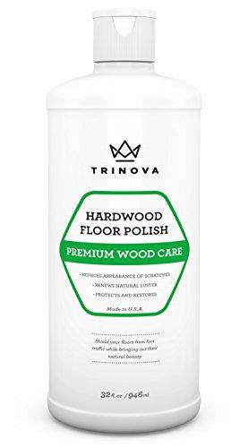 TriNova Hardwood Floor Polish and Restorer - High Gloss Wax, Protective Coating. Best Resurfacing Applicator with Mop or Machine to Restore Natural Beauty 32oz