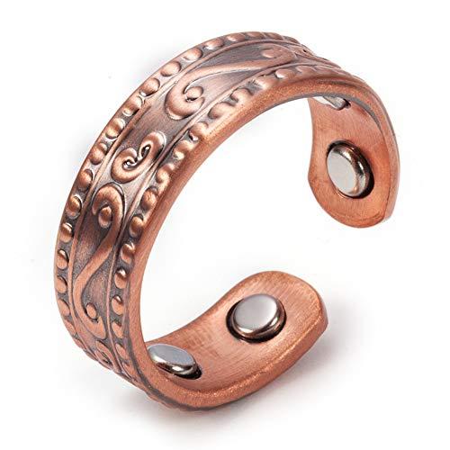 Anillos magnéticos de cobre puro para hombres y mujeres con 4 imanes fuertes de estilo vintage para la salud, alivio del dolor ajustable para la artritis y el túnel carpiano