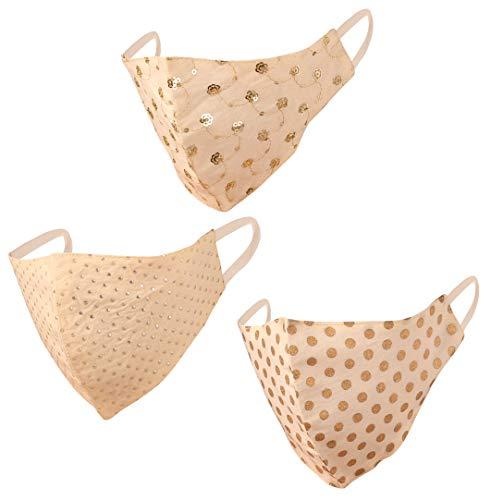 Indian Heritage Stoff gestickt Gesichtsmasken Wiederverwendbare Waschbar Handcrafted Baumwolle Double Layer Komfortables Design mit elastischen earloops für Frauen. (Packung mit 3). Golden Beige Weiß