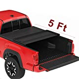 oEdRo Upgraded Soft Tri-fold Truck Bed Tonneau Cover On Top Compatible with 2016 2017 2018 2019 2021 Toyota Tacoma with 5ft Bed, Fleetside