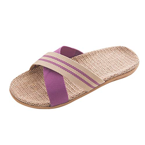 Why Choose Shusuen Women's Men's Fashion Anti-Slip Linen Home Indoor Open Toe Flat Shoes Beach Slippers for Couple Purple