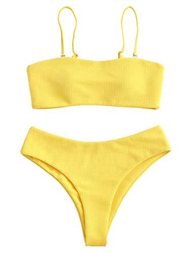 ZAFUL Women's Bandeau Bikini Set Removable Straps Textured High Cut Two Piece Swimsuits,Yellow,Small
