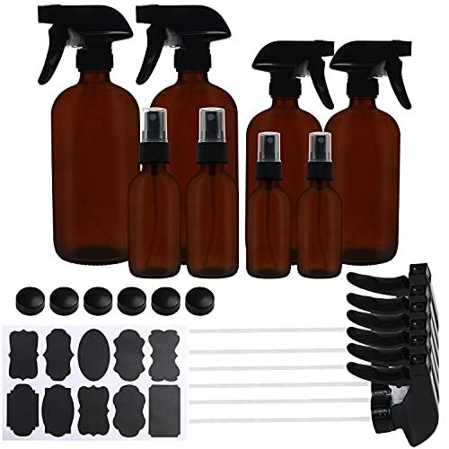 Belle Vous Set Bote Spray Pulverizador Cristal Ámbar (Pack de 8) 57-455 ml Variadas Botella con Rociador Vacías con Etiquetas y Tapas – Aceites Esenciales, Limpieza, Aromaterapia, Perfume