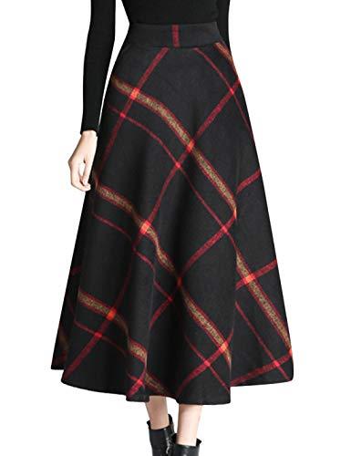 Tanming Women's Winter Warm Elastic Waist Wool Plaid A-Line Pleated Long Skirt (Black, Large)
