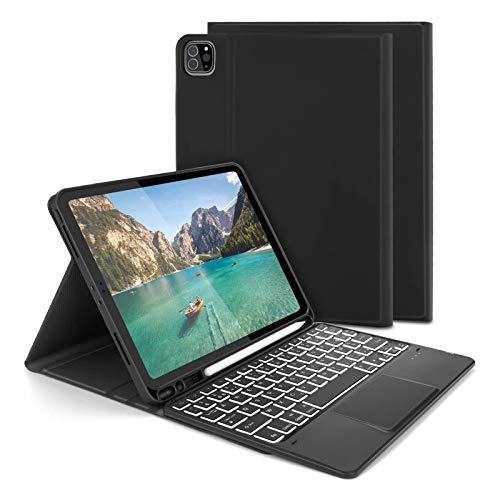 """Jelly Comb Étui Clavier avec pavé Tactile pour Ipad Air 10.9""""/ iPad Pro 11'' 2018/2020, Coque Clavier AZERTY Rétroéclairé Touchpad pour Ipad Pro 11 (1e/2e génération), Ipad Air 10.9(4ᵉ génération)"""