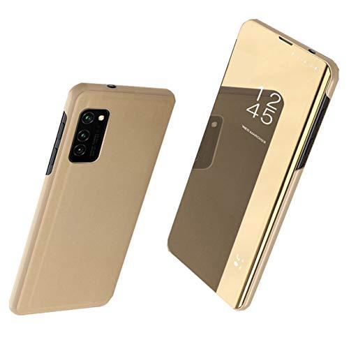 Jancyu kompatibel mit Samsung Galaxy S20 FE Hülle Schutzhülle Galaxy S20 FE Hart Handy 360-Grad-Schutz Flip Electroplate Stand Ledertasche (Gold, Galaxy S20 FE)