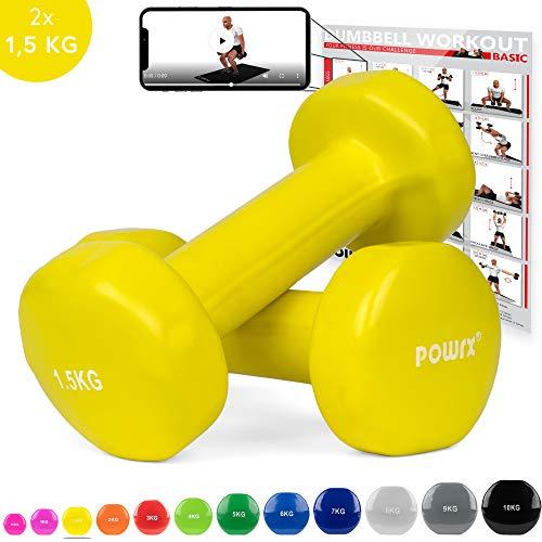 POWRX - Manubri Pesi Vinile 1 kg Set (2 x 0,5 kg) + PDF Workout (Viola)