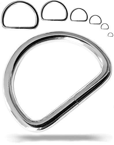 Fuchs D-Ringe Stahl | 40mm 10 Stück | Größe wählbar | robust und langlebig - silberfarbene Halbrundringe - Stahlringe sind vernickelt - Metallringe (Innendurchmesser: 40mm - 10 Stück)