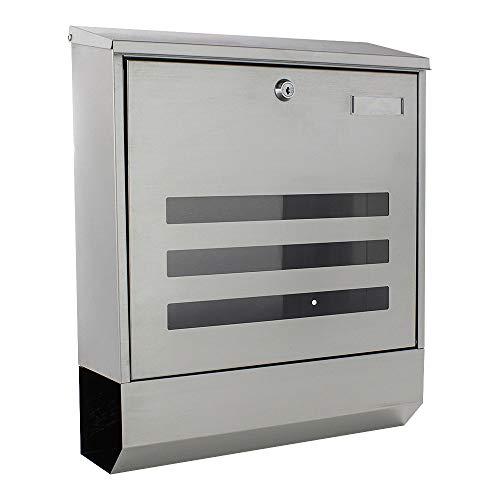 Zylinderschloss 2 Schl/üssel und Schutzklappe mit Sichtfenster Rottner T06047 Casa INOX Design-Briefkasten aus geb/ürstetem Edelstahl Inklusive Montagematerial