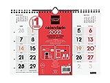 Finocam - Kalender 2022 M - 300 x 210 mm Wandneutral große Zahlen Spanisch