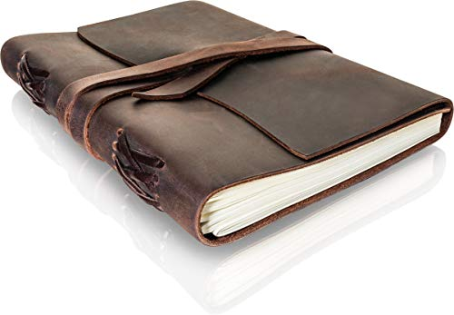 Leather Journal Writing Notebook for men & women - Lined Paper 8.25 × 6.25 Inches Large yet portable - Antique Handmade Genuine Leather Notebook for Poets; Travelers & Keepsake -Works with Any Pen