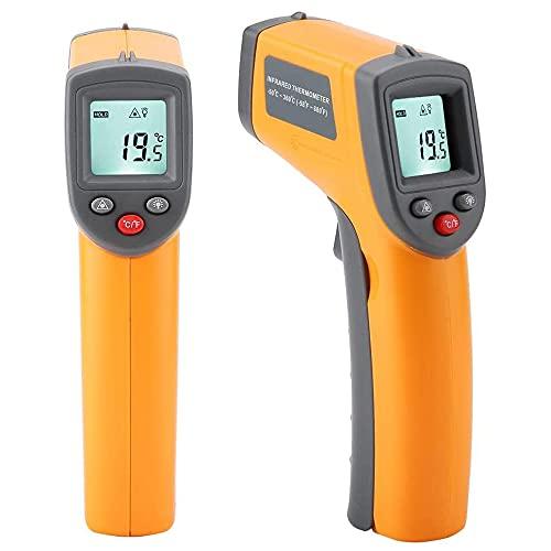 Gobesty Termómetro infrarrojo, dispositivo de medición de temperatura Pirómetro IR Termómetro digital láser -50 ° C a 530 ° C Sin contacto con iluminación LCD Emisividad ajustable