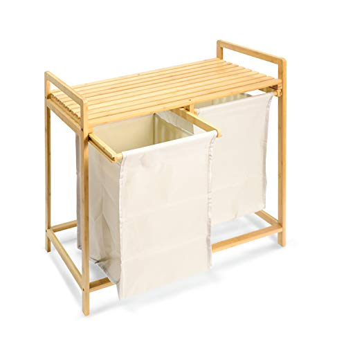 tochean Bamboo Laundry Hamper and Shelf 2 Sections Laundry Basket with Removable Sliding Liners Made of Oxford Cloth 2-Bag Laundry Hamper sorter for Bathroom