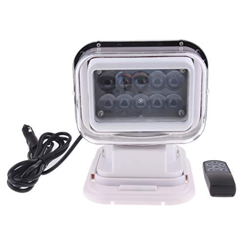 balikha Control Remoto Inalámbrico Foco LED Luz de Búsqueda Carcasa Blanca 12 / 24V 7500K