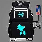 ZXJWZW Mochila De Anime De Dibujos Animados Dragon Ball Bookbag Mochila USB Adolescentes Niños Bolsas De Hombro Escolares