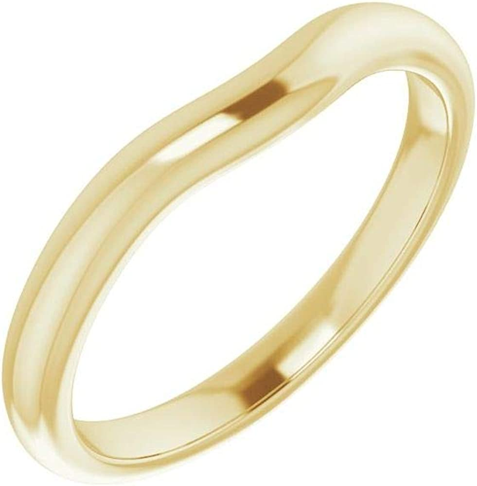 OFFicial site Solid 14K Yellow Gold Curved Notched Long-awaited for Marq Wedding 6x3mm Band
