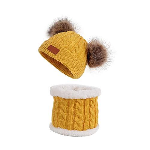 Niño caliente de punto Beanie sombrero invierno Mantener gorro casquillo de punto transpirable Hombres Mujeres casquillo de la bufanda determinados del cabrito accesorios principales, Amarillo