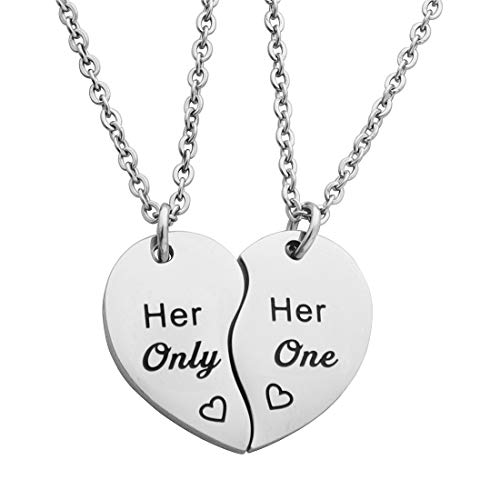 Meibai Gay Lesbian Couples Jewelry Set His One His Only Keychain Her One Her Only Necklace Wedding Gift for LGBT (Necklace-Her One & Her Only)