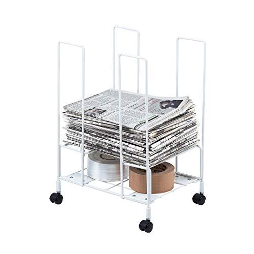 イーサプライ新聞ストッカー耐荷重10kg幅31cm奥行24cmラックキャスター付き紐縛りやすい便利A4雑誌ホワイトEEX-CBS01-2