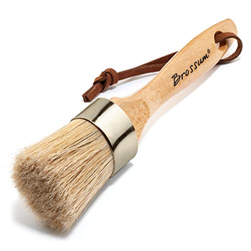 Brossum Large 2-in-1 Round Chalk and Wax Paint Brush | Painting or Waxing Furniture | Handmade with All Natural Bristles and Ergonomic Handle | Dark or Clear Wax | DIY, Home Decor, Wood