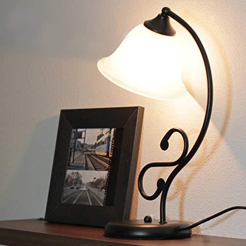 Zierliche Tischlampe Landhaus Stil Metall Glas H:37cm Leuchte Schreibtisch Wohnzimmer Schlafzimmer