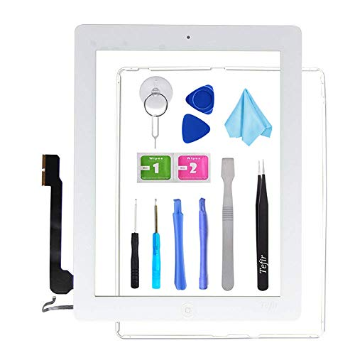 Tefir wit vervangend scherm voor iPad 4 A1458 A1459 A1460, iPad4 Touch Screen Digitizer Front Glass Assembly -Inclusief Home Button+Camera Bracket+Voorgeïnstalleerde lijm+Frame+Tools Kit