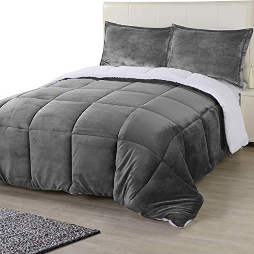 Utopia Bedding All Season Alternative Fleece Comforter - Reversible Sherpa Comforter Set (King, Grey) with 2 Pillow Shams - Soft and Comfortable - Machine Washable