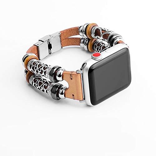 Restaura maneras antiguas es encantador Compatible con Apple Correa de reloj de 38 mm Correa / 40mm / 42mm / 44mm piel de vaca y correa de metal, estilo chino doble anillo hueco compatible con la seri