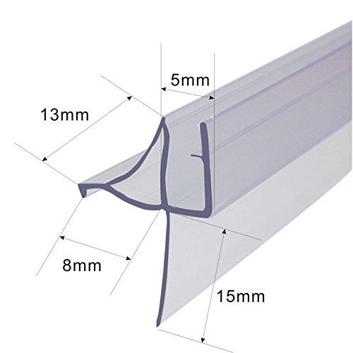 Review Frameless Shower Door Bottom Seal for 3/16-Inch Glass,36-Inch Long, Vinyl, Clear
