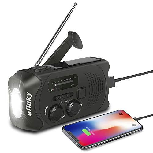 Efluky Solar Radio AM/FM Kurbelradio Tragbar USB Wiederaufladbar Notfallradio mit 2000mAh Power Bank, Led Taschenlampe, SOS Alarm und Handkurbel Dynamo für Camping, Survival, Reisen, Notfall (Schwarz)