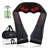 iBooMas Electric Wireless Rechargeable Shiatsu Shoulder Massager with Optional Heat and 3 Speeds,3D Lotus Type Kneading Bidirectional Rotation Massage,Relieve Muscle Pain and Stiff Neck