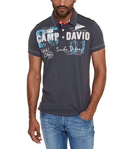 Camp David Herren Poloshirt mit großen Label-Applikationen