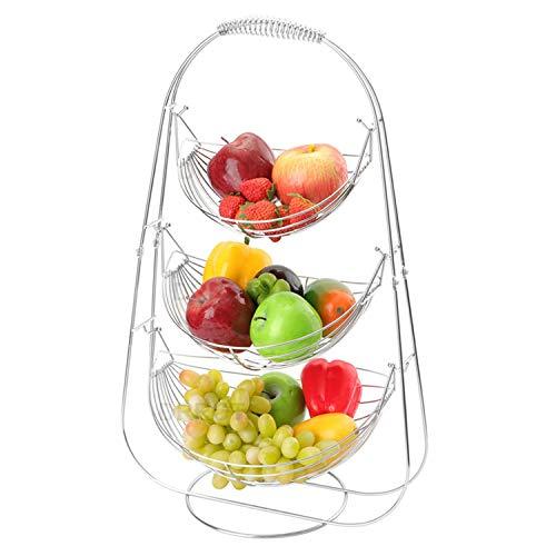 LOMOFI Cesto di Frutta in Metallo Cromato a 3 Ripiani, Portafrutta a Forma di Amaca, per Il Pane in Casa Porta Frutta Supporto Cucina Organizer - Argento