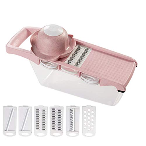 HUAQIGUO 8 en 1 de plástico vegetal cortador de frutas cortador ajustable cuchillas de acero inoxidable multifuncional pelador rallador herramientas de cocina útiles (rosa)