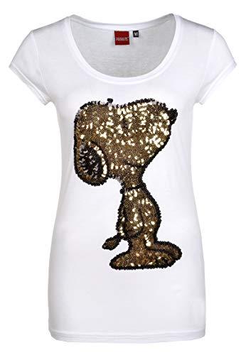 Sublevel Damen T-Shirt mit Snoopy aus Pailletten Comic Shirt kurz mit Rundhals Ausschnitt und Logo Print White XS