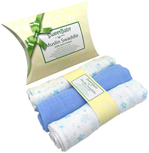 Set 3 Mussole Neonato in Puro Cotone, Quadrotti Baby 80x80 cm, Morbide Copertine Lavabili con Bordi Rinforzati| Disponibili in Rosa e Azzurro by SweetBaby (Azzurro)