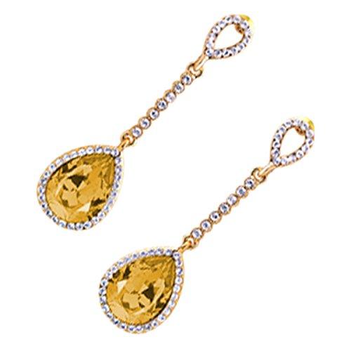 UPCO Jewellery Pendientes largos tipo gota con una piedra central ovalada champagne rodeada por cristales, de 10 x 50 MM bañados en oro amarillo 18 K