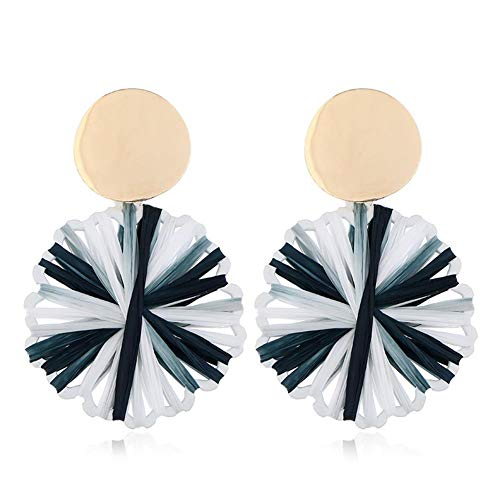 Wicemoon DIY Accessories Hand-Woven Colorful Earrings Elegant Jewelry for Party Meeting Dating Wedding Daily Wear (Black and White)