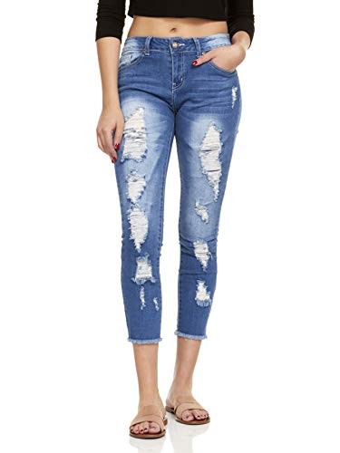 YDX Women's Ripped Skinny Jeans, High Waisted Jeans for Women -Medium Blue a,11