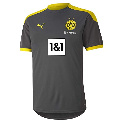 PUMA Herren BVB Training Jersey New T-Shirt, Asphalt-Cyber Yellow, L
