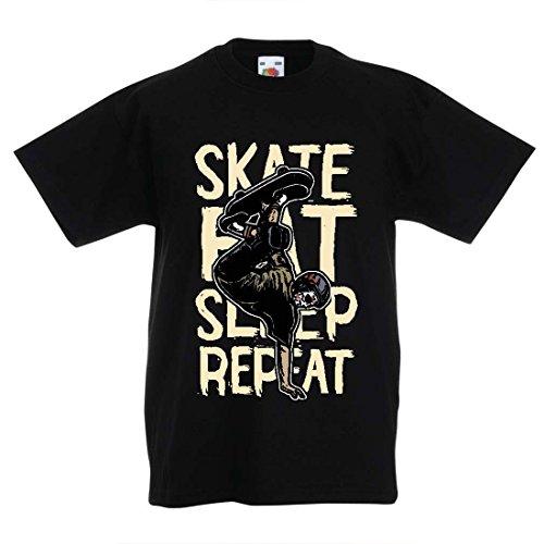 Kinder T-Shirt Eat-Sleep-Skate-Repeat Fro Skateboard Liebhaber, Skateboarder Geschenke, Skateboarden Kleidung (14-15 Years Schwarz Mehrfarben)
