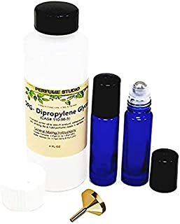 Fragrance Oil Making Kit to Use With Our Pure Perfume Oils; 4.2oz DiPropylene Glycol (DPG) Carrier Oil Bottle, Two 7ml Empty Glass Roll-on Bottles, One Perfume Funnel (Perfume Oil Making Kit, Set)