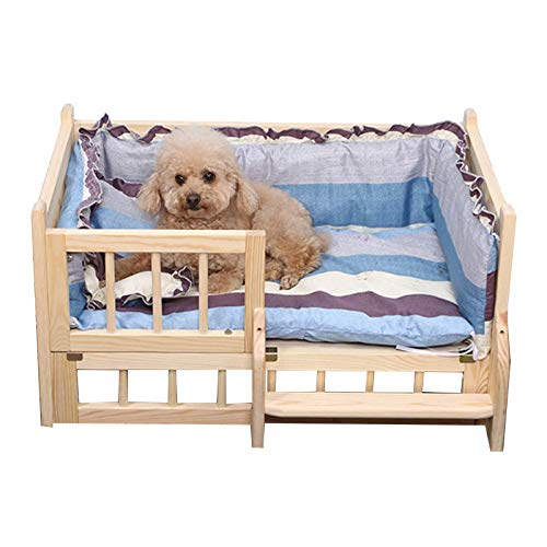 JLXJ Cama para Perros Cama de Madera para Perros con Soft Mat, Cuna de Invierno para Mascotas, para Perros Grandes Medianos Pequeños, Ortopédico Elevado Perrera Desmontable con Escaleras Y Valla