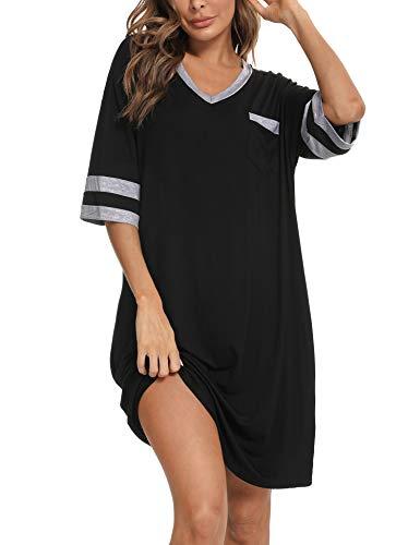 Abollria Chemise de Nuit Pyjama Confortable Robe de Nuit pour Femmes en Modal Ample pour la Maison (Noir-3, L)