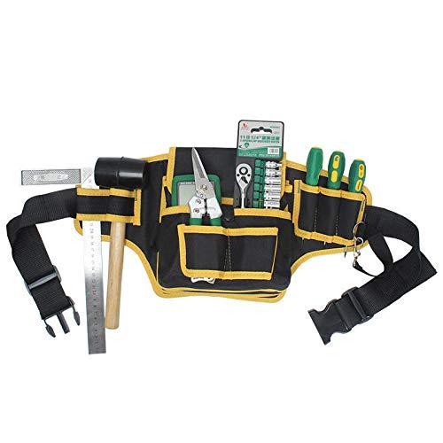 XCQ Elektriker Leinwand Werkzeugtasche Safe Gürtel Taille Tasche Gürteltasche Organizer Reparaturwerkzeug Aufbewahrungstasche langlebig 0321 (Color : Yellow)