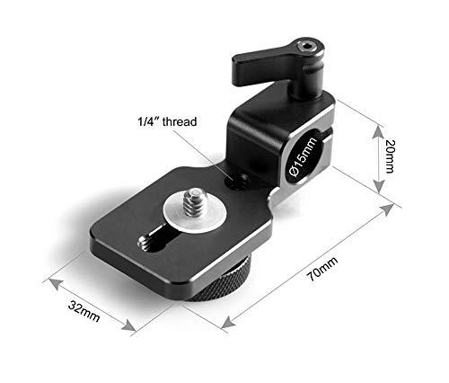 FUQUANDIAN Negro de liberación rápida la Barra del Montaje 15 mm Ajustable Soporte Universal Adaptador de DSLR Soporte Monitor Visor Accesorios de Soporte (Color : Black)