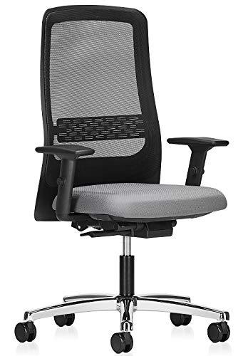 Interstuhl Drehstuhl RS600 mit Armlehnen Bürostuhl Grau Chrom ergonomischer Bürostuhl mit Netzrückenlehne