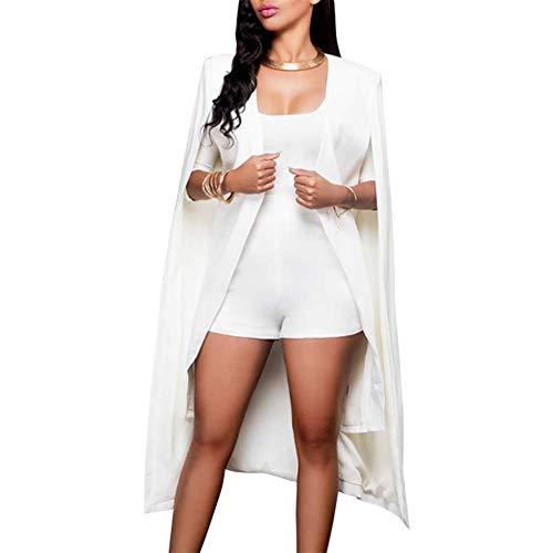 Huaheng Womens Losse Lange Mantel Blazer Cape Trench Vest Jas Open Front Split Mouw Jas M Kleur: wit