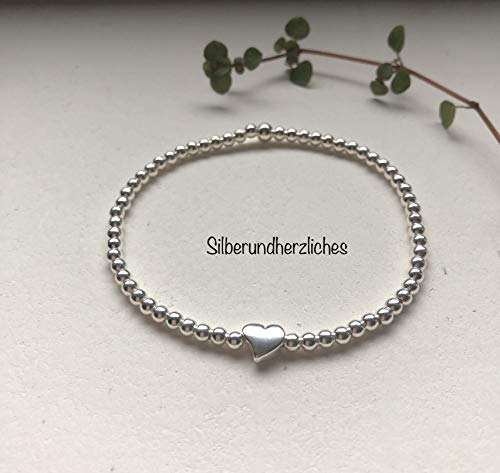 Kugelarmband Silber mit Herz in 925 Silber/Muttertag/Freundschaftsarmband/Geburtstagsgeschenk