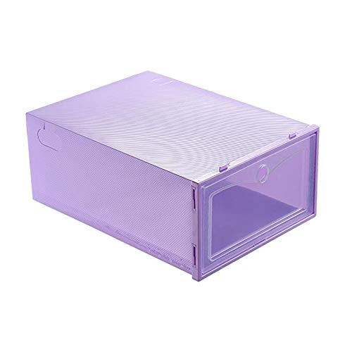 Fenteer Cajas de Almacenamiento de Zapatos, Gavetas Organizadoras de Zapatos Apilables de Plástico Transparente, Contenedores de Zapatero con Apertura Frontal - púrpura, Individual